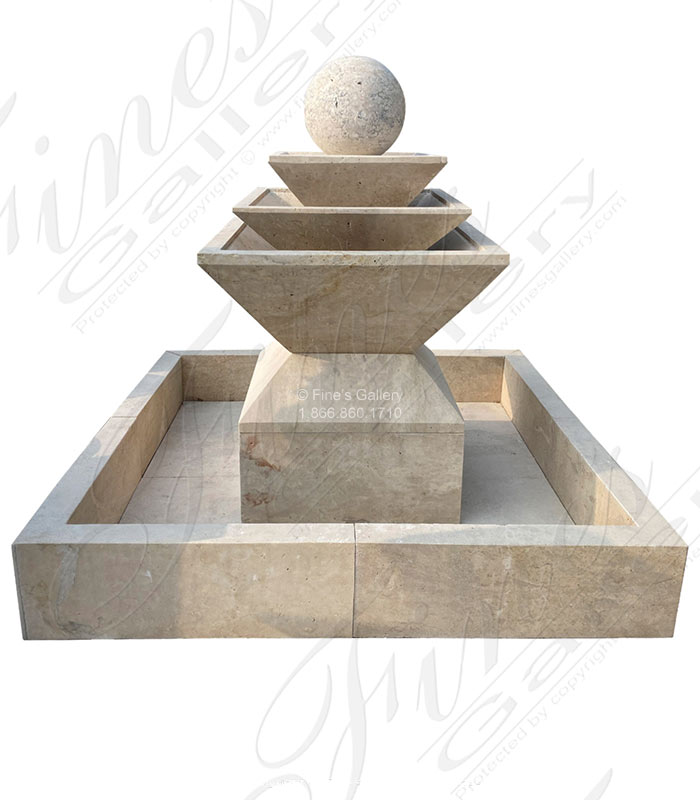 Contemporary Square Shape Travertine Fountain