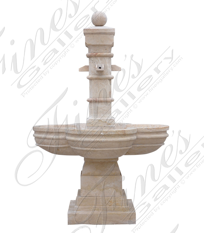 Old World Beige Marble Fountain