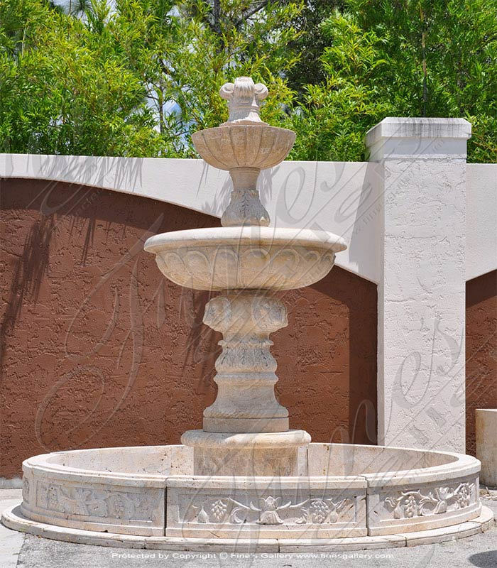 Antique Travertine Courtyard Fountain