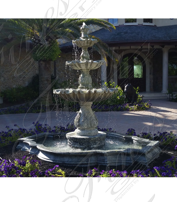 Luxury Estate Fountain in Verde Marble