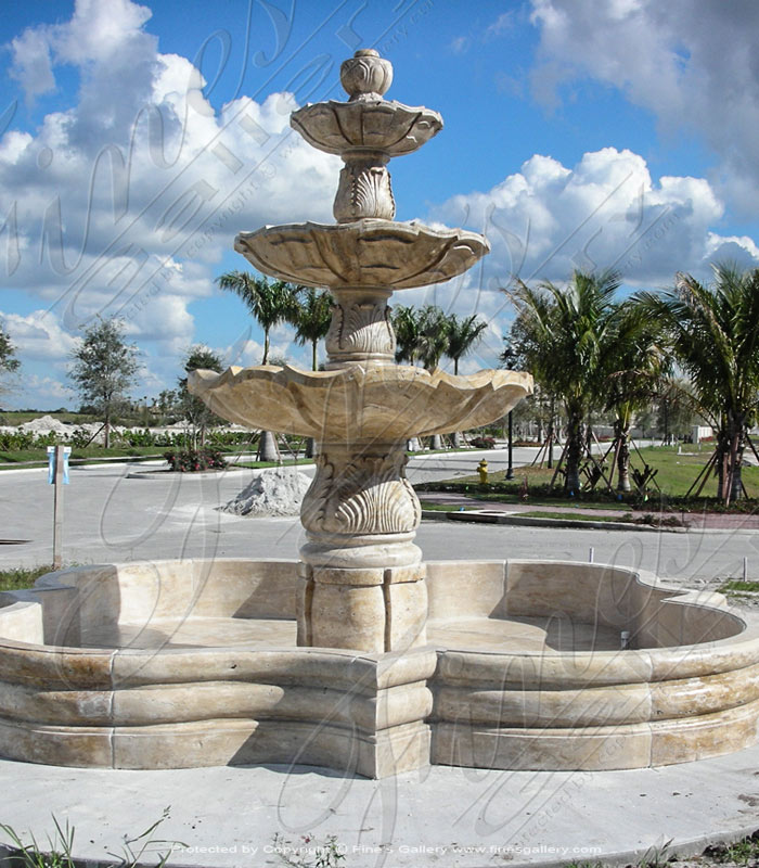 Large Mediterranean Travertine Fountain in Florida Gated Community