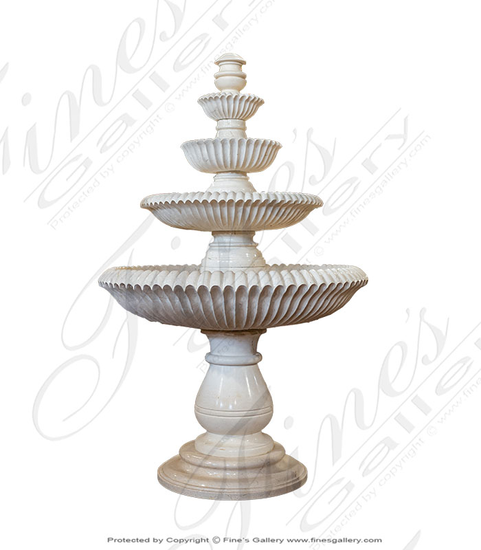 Scalloped Cream Marble Fountain