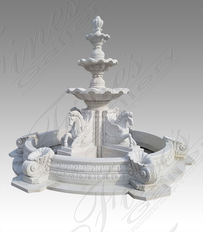 Four Pegasus Tiered Marble Fountain
