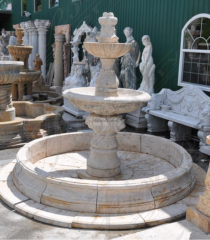 Antique Style Travertine Fountain