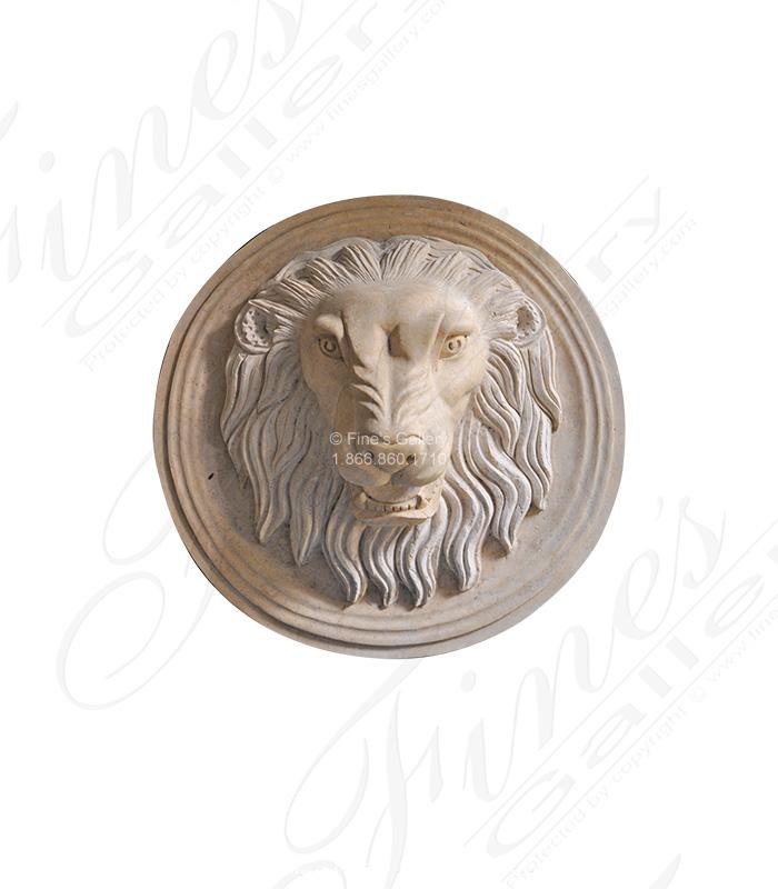 Desert Gold Cream Marble Lion Head Fountain
