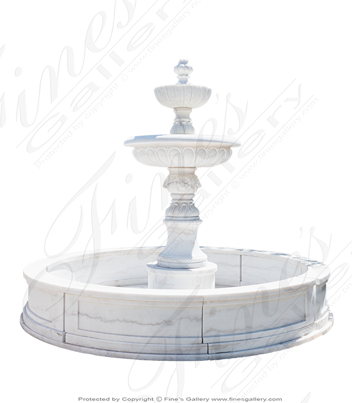 Tiered White Marble Fountain with Fleur Des Lis Motif
