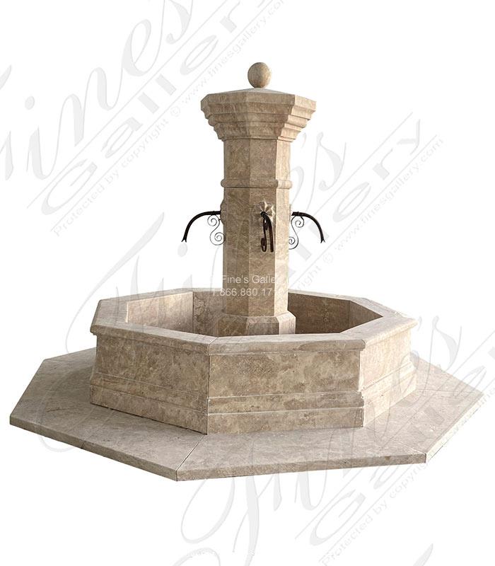 Oversized Old World Fountain in Travertine