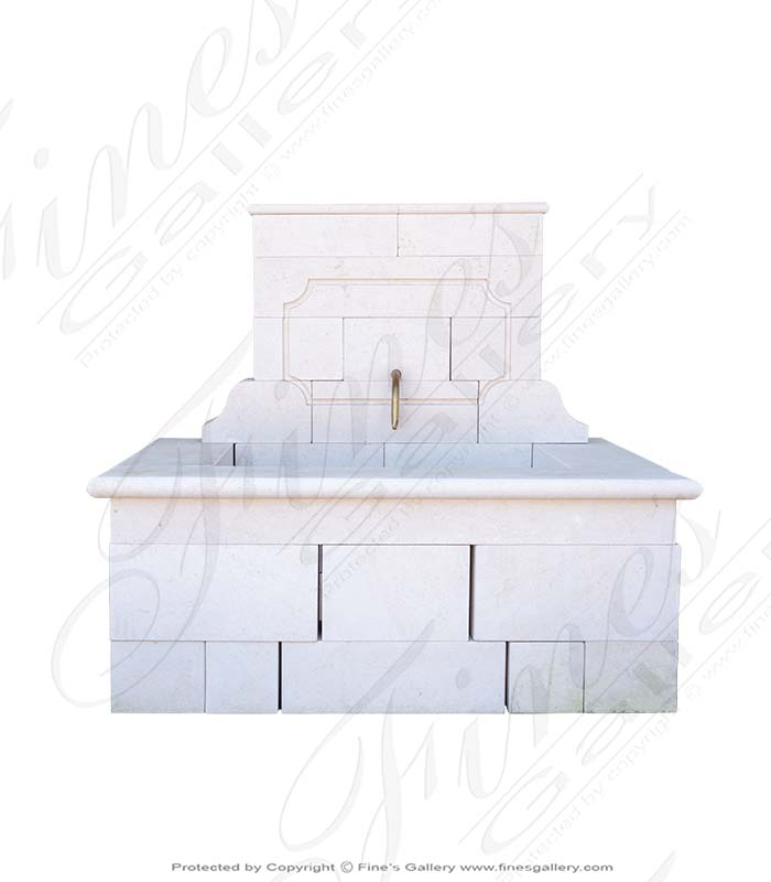 French Limestone Countryside Wall Fountain