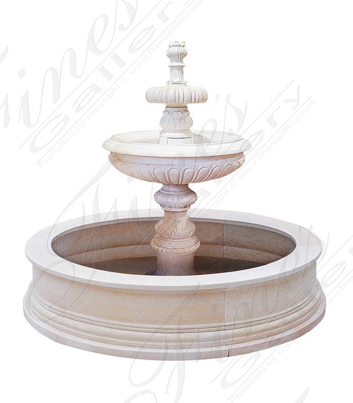 72 Inch Round Cream Marble Tiered Fountain
