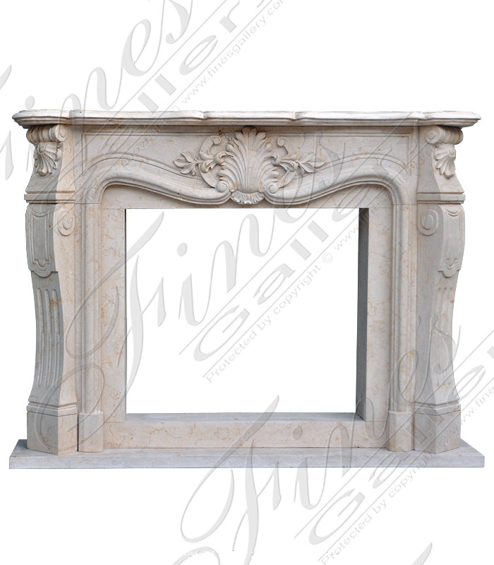 Cream Colored Marble Fireplace Mantel