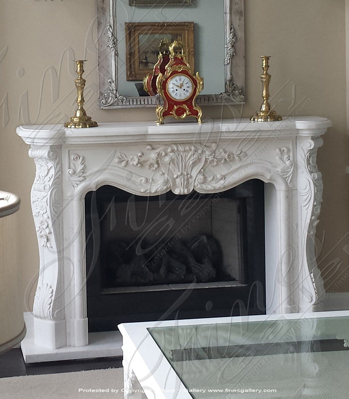 White Marble French Fireplace