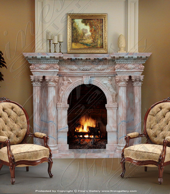 Marble Romanesque Fireplace Surround