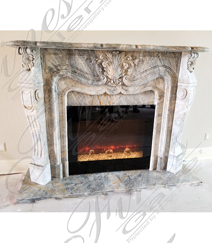 Breccia Antique French Marble Fireplace