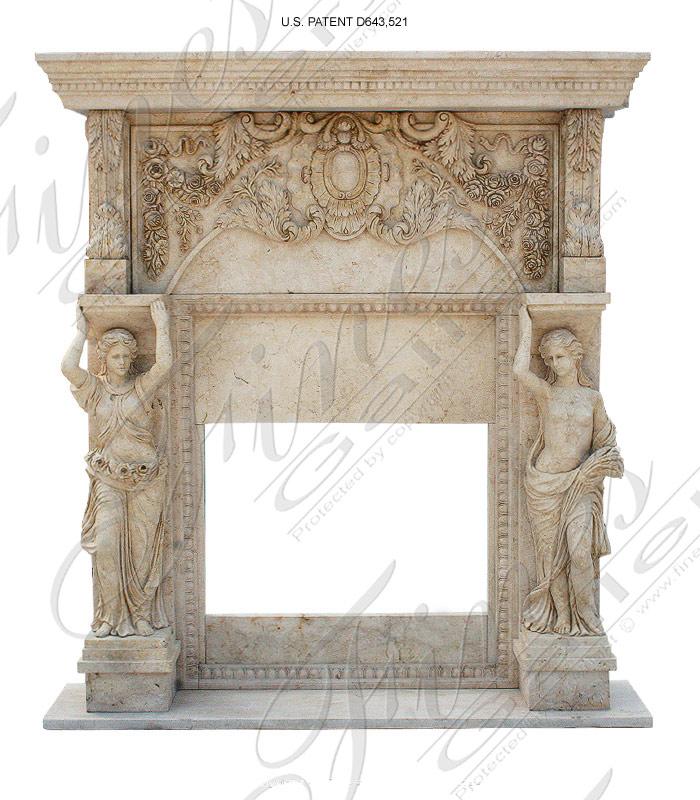 European Caryatid Marble Fireplace Mantel