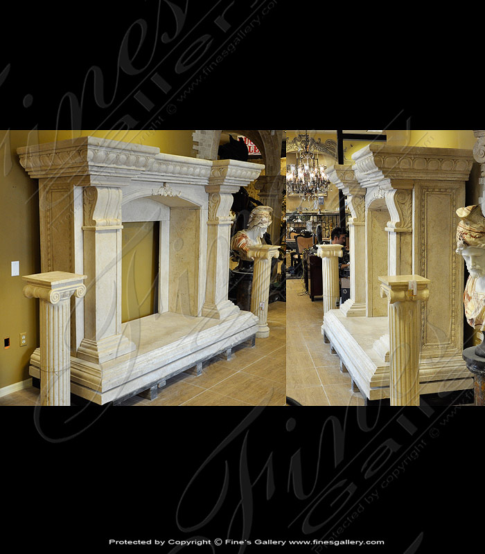 Large Beige Marble Fireplace
