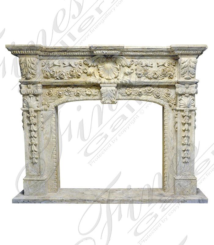 Beige Marble Fireplace Mantel