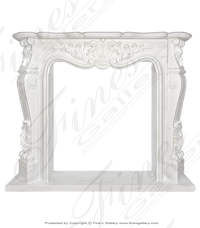 French Style White Marble Fireplace Mantel