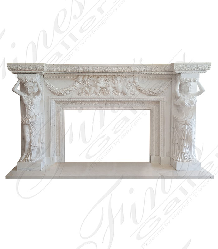 Ornate White Marble Fireplace