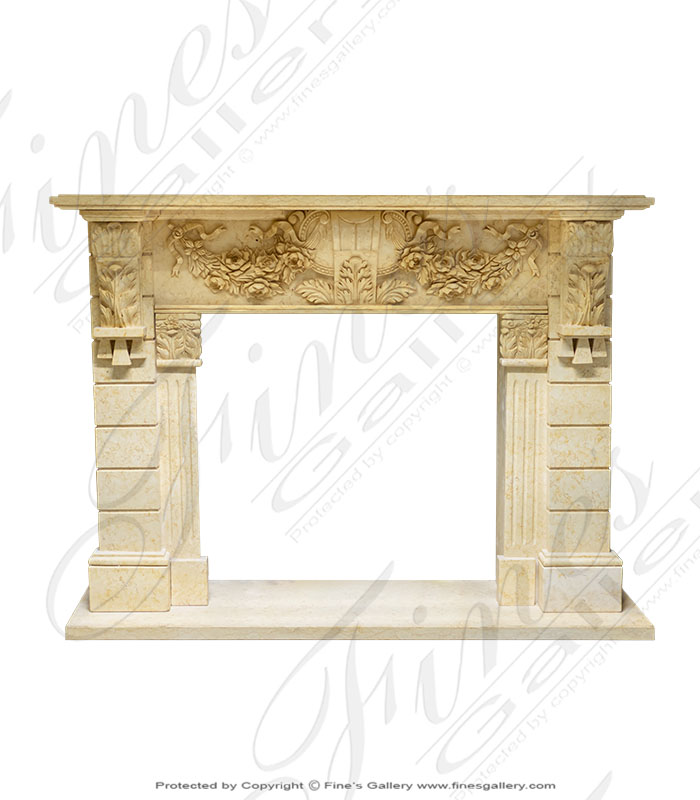 Ornate Floral Marble Mantel