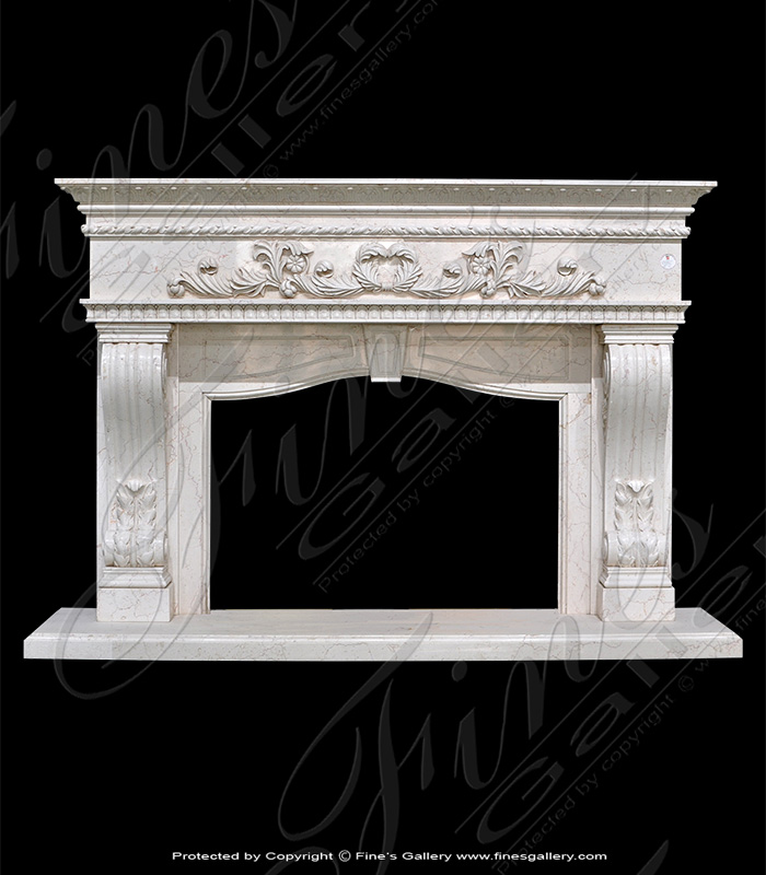Ivory Shell Marble Fireplace