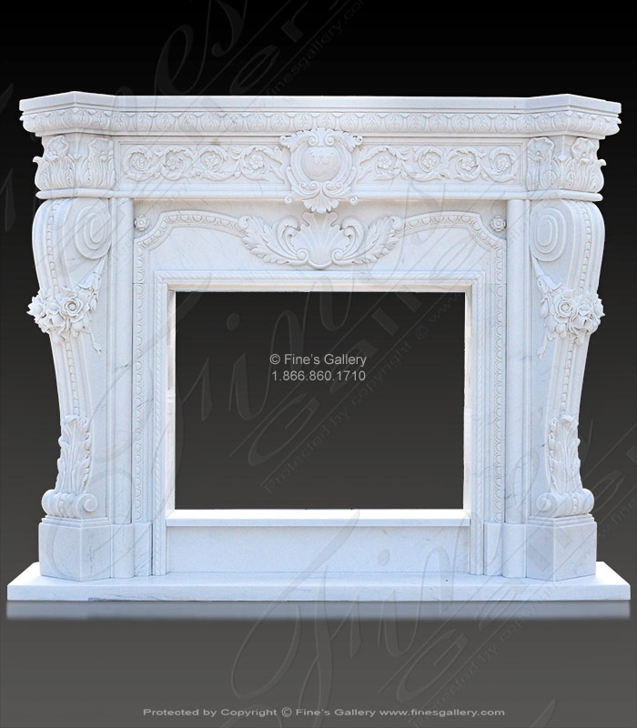 Pure White Luxury Marble Fireplace