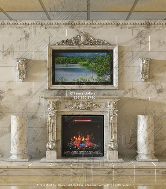 Carrara Marble Fireplace with TV Frame Overmantel, Cladding, Crown Molding, Corbels and Pedestals