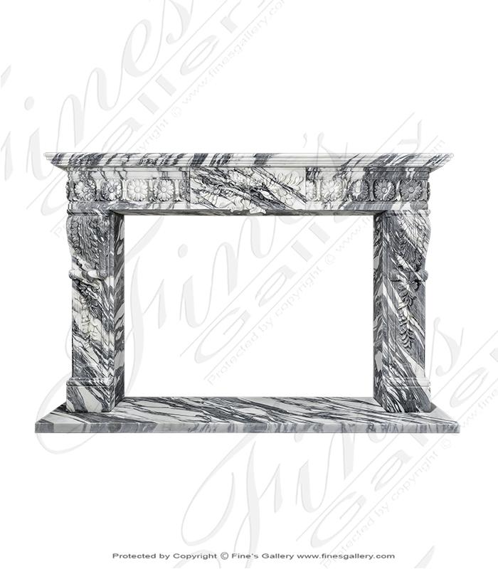 Rare Regency Arabascato Marble Fireplace Surround