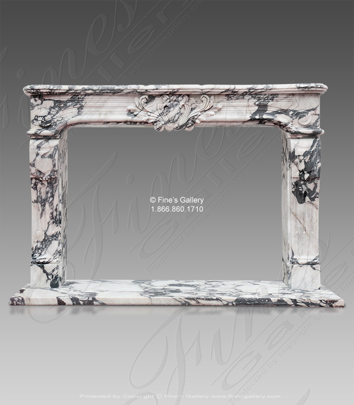 Breche Violette Louise XV Marble Fireplace (New)