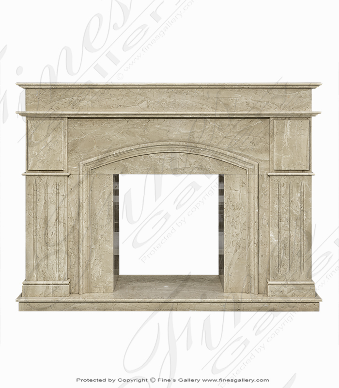 Polished Beige Marble Archway Mantel