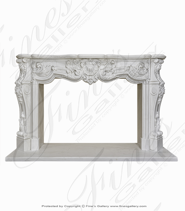 Elaborate Rococo French Mantel in Statuary White Marble