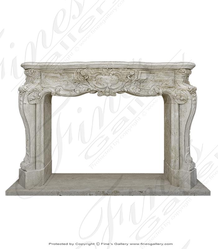 Roman Travertine French Style Mantel