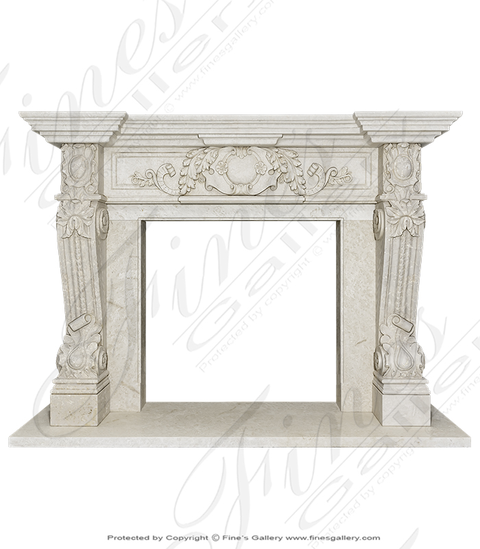 Luxurious Italian Style Mantel in Botticino Fiorito Marble