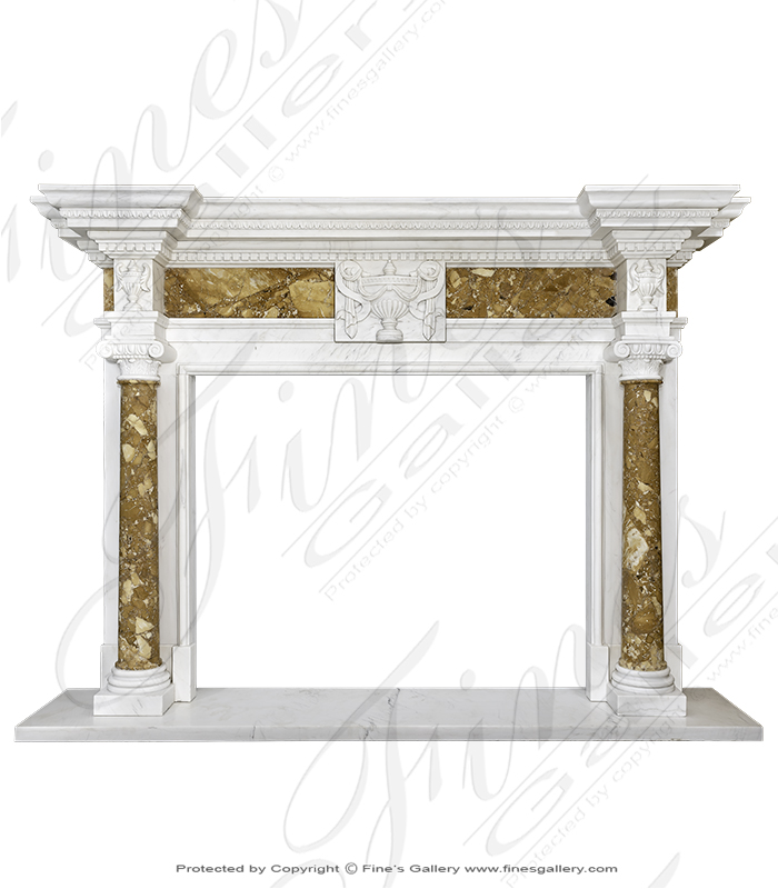 Neoclassical Italian Marble Fireplace Surround