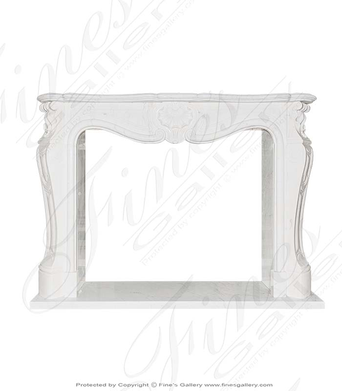 Clean French Marble Fireplace Mantel with Shell Motif