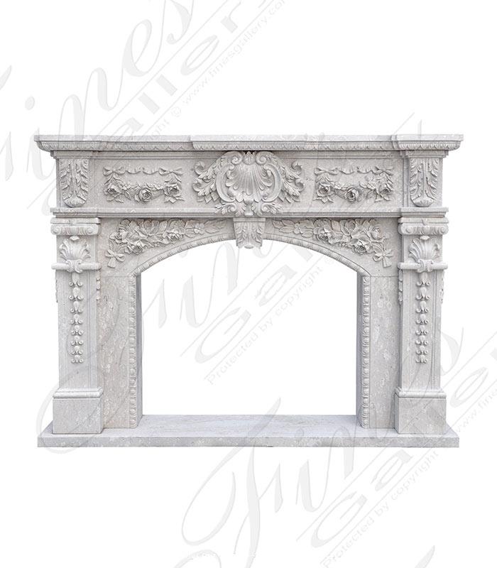 Lavish Floral Garland Italian Perlato Marble Fireplace Mantel