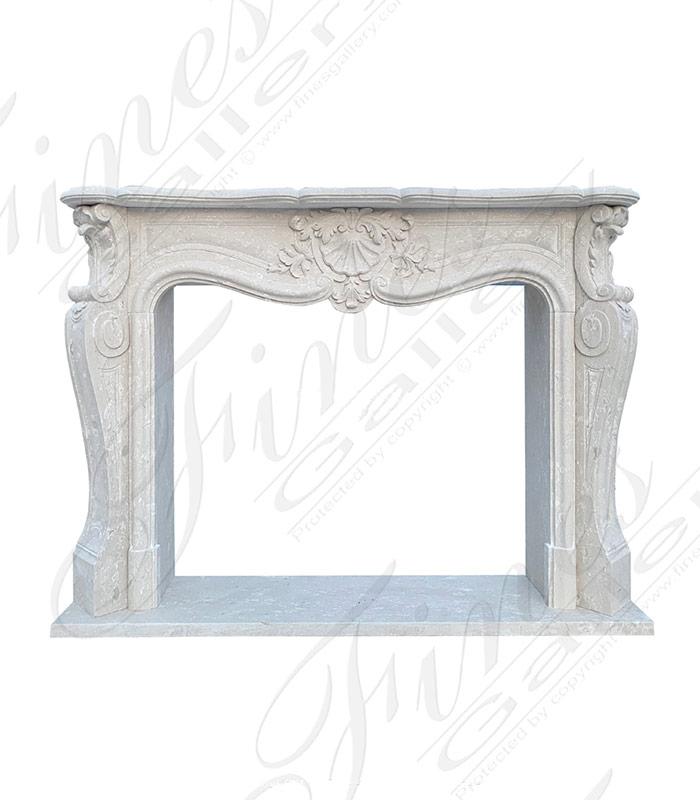 French Louis X Perlato White Italian Marble Fireplace Mantel