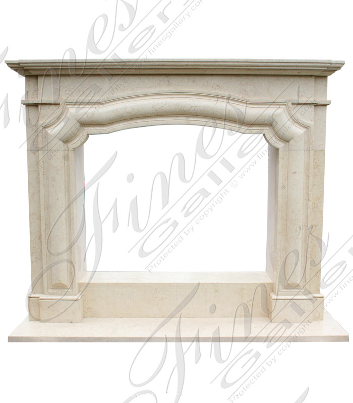 Simple Cream Marble Fireplace