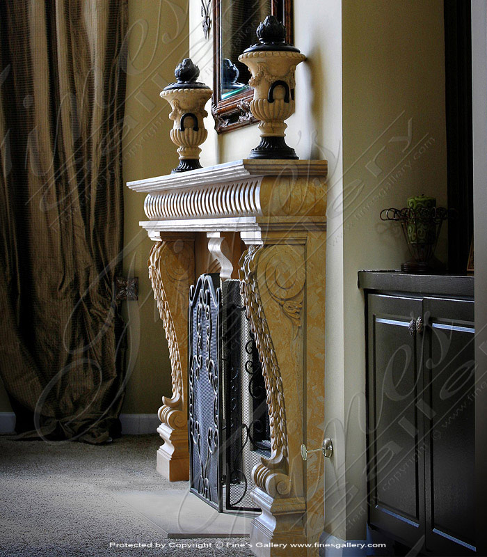 Golden Marble Fireplace
