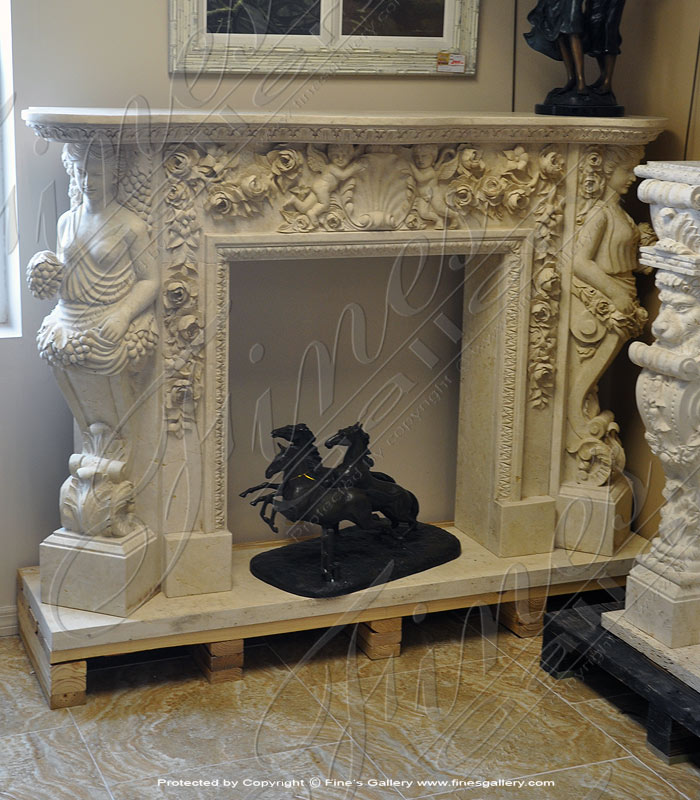 Angel & Maiden Fantasia Marble Fireplace