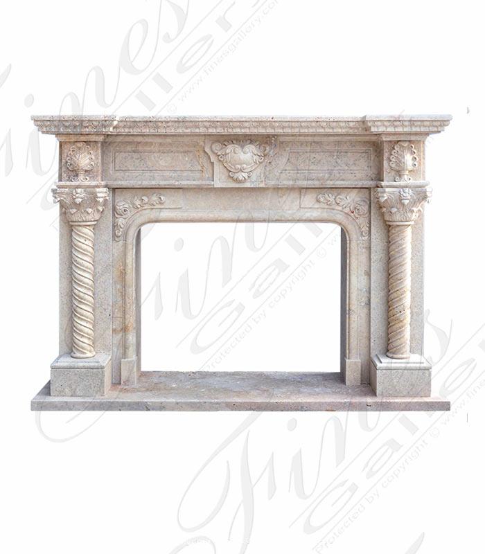 Elegant Beige Marble Fireplace