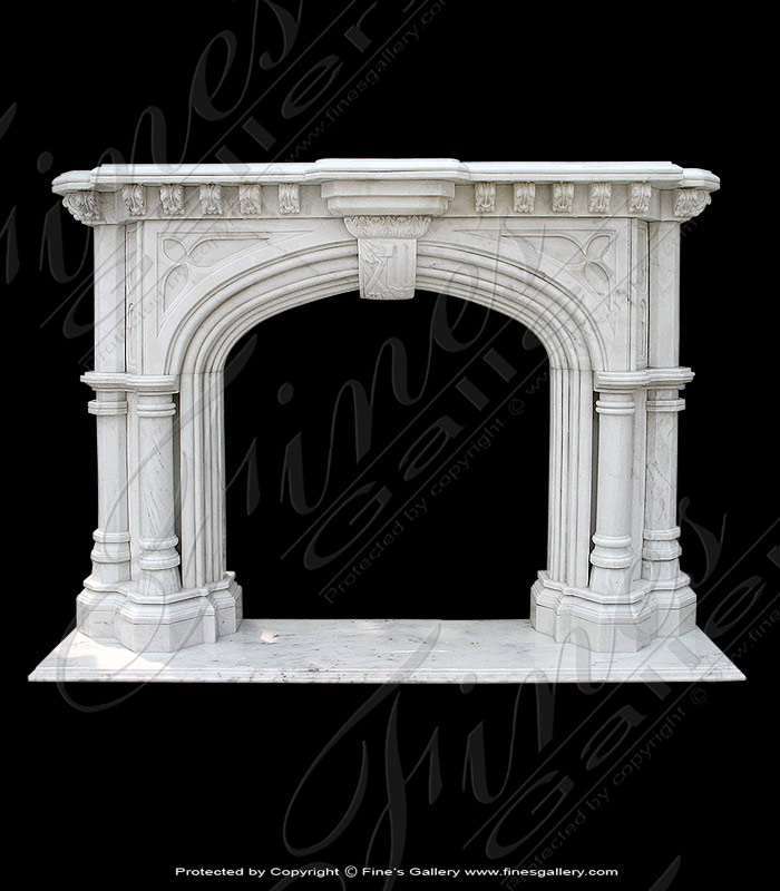 Majestic White Marble Fireplace