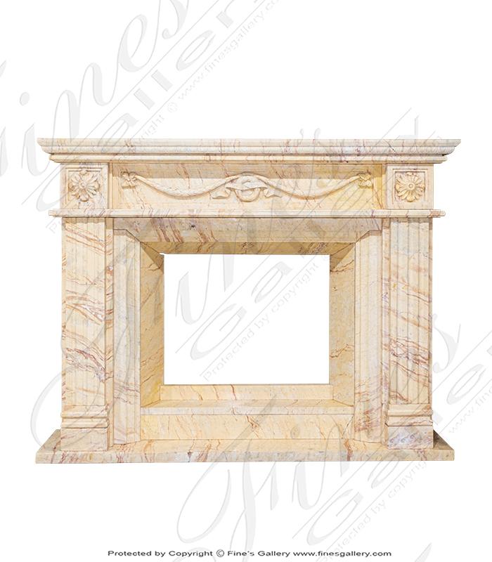 Floral Elegance Marble Fireplace