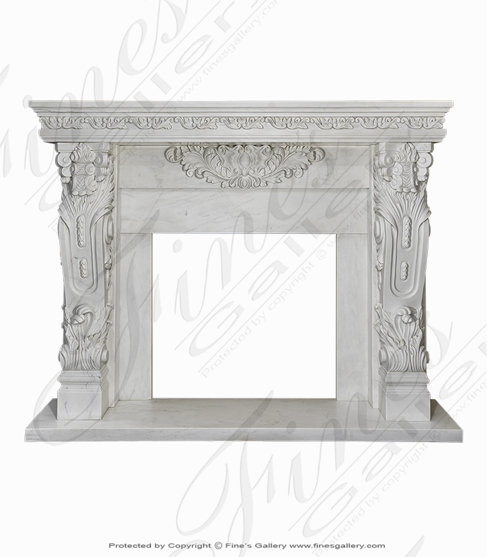 Hand Carved Statuary Marble Mantel