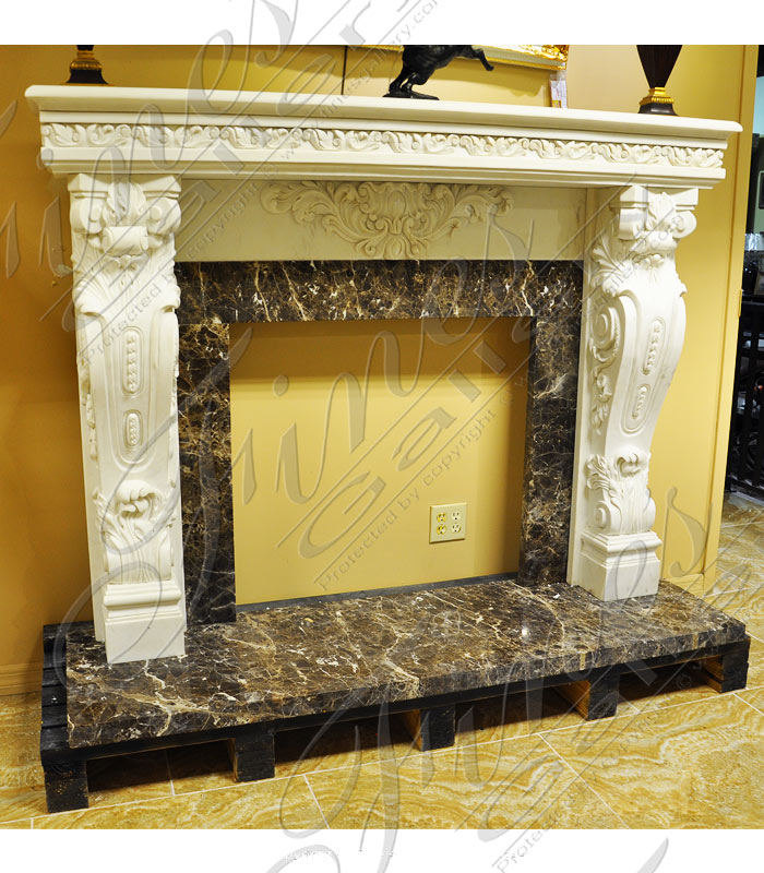 Two Toned Marble Fireplace Mantel