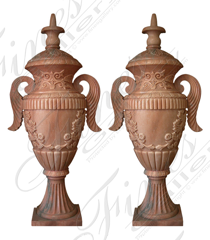 Rose Marble Urns or Planters