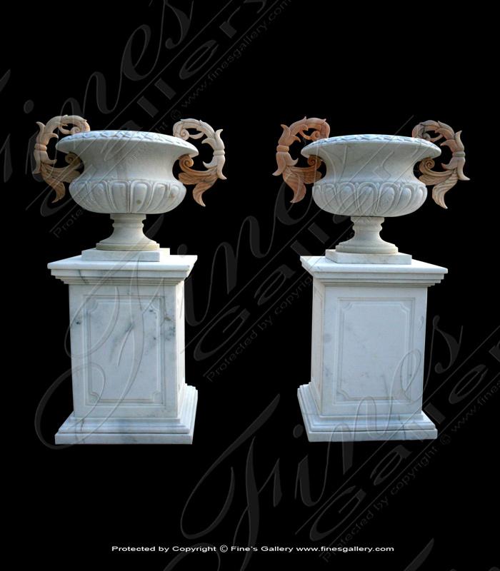 Ornate Handles Marble Urn