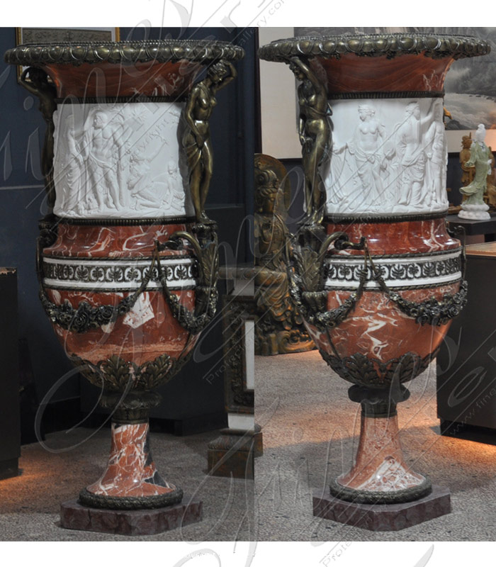 Marble and Bronze Planter Pair