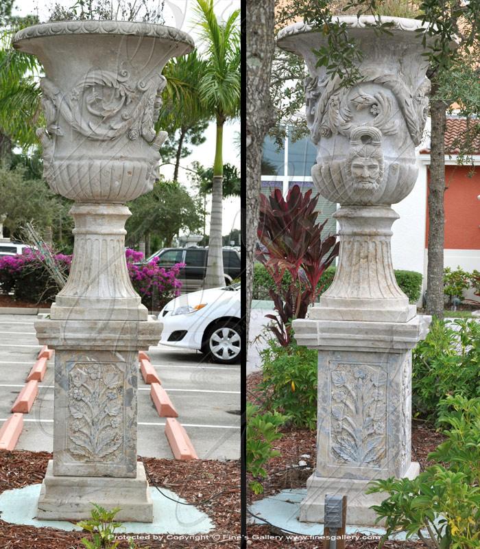 Marble Urn & Pedestal Pair