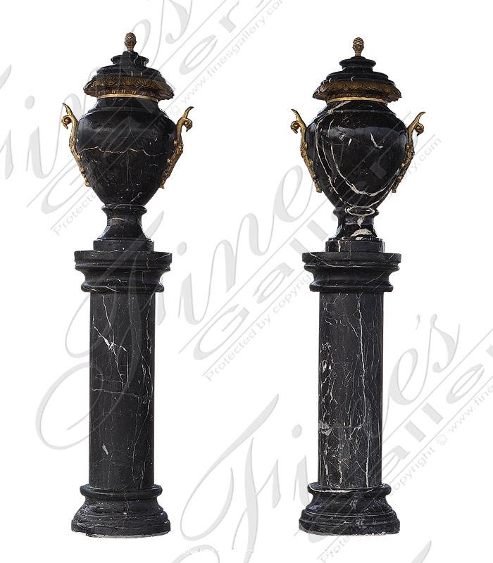 Marble & Bronze Urn Pair