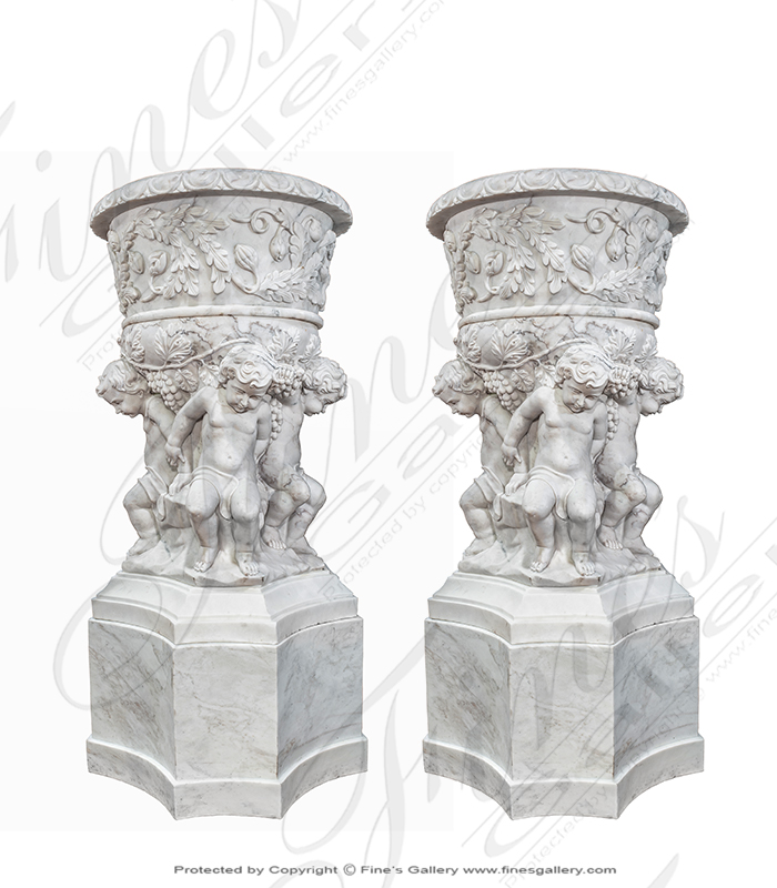 Luxurious Italian Marble Cherub Boys Planter ( Pair )